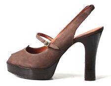 newt $425 DELMAN dark brown open-toe slingback PUMPS shoes 38.5 8.5