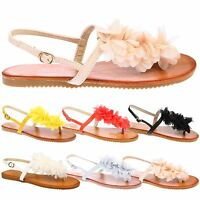 Judy Womens Flats Toe Post Strappy Flower Ladies Summer Sandals Beach Shoes Size