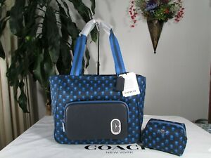NWT Coach Badland Floral Print Court Tote C5669 & Cosmetic Case C5583 Navy Multi