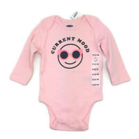 NWT Old Navy Infant Girls Pink Long Sleeve One Piece Bodysuit CURRENT MOOD 6-12M