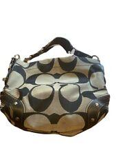 COACH Carly Large Shoulder Signature Handbag Purse Hobo 12871 Black Gray EUC