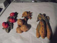 Vtg Lot 3 Handmade Ceramic Wall Hanging Vegetables Corn Tomatoes onions