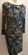 M&CO Ladies Peacock Blue Paisley Dress Size 12 Long Sleeve Back Zip Stretch