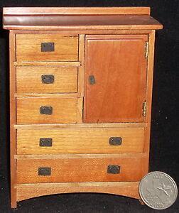 Pecan Mission Six Drawer Bureau Chest 1:12 Dollhouse Miniature #T7191 Bedroom