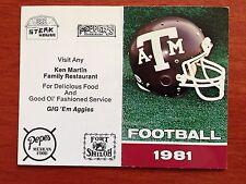CFB 1981 TEXAS A&M AGGIES Football Schedule College FB NCAA