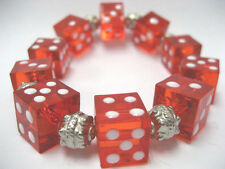 """Bunko Red Dice Acrylic  Stretch Bracelet New with Gift Bag 7.5"""""""