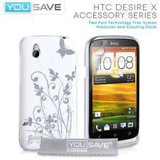 Accessories For The HTC Desire X White Floral Butterfly Hard Case Cover & Film