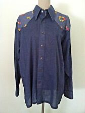 Vintage 70's Wrangler women shirt Western snap button down floral embroidery M L