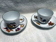 Royal Worcester Evesham Vale Green Trim 2 Cup and Saucers Set