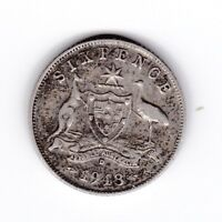 1943 D Australia Sterling Silver Sixpence 6P Coin  U-813