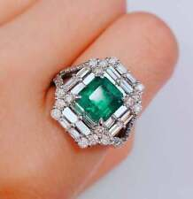 Colombian Green Emerald With Baguette And Round Cubic Zirconia Vintage Look Ring