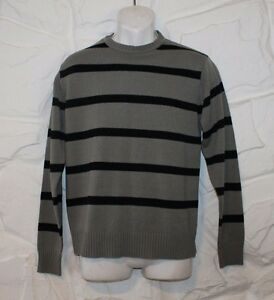 Grey & Black Striped Knitted RIVER TRADER Long Sleeve Jumper Sweater Size S