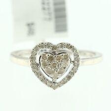 Womens 14k White Gold Genuine Diamond Ladys Heart Love Promise Engagement Ring