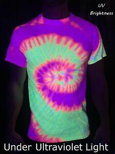 UV BRIGHTNESS     NEON/FLURO UV REACTIVE TIE DYE T SHIRTS