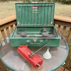 Vintage Coleman camp stove 413G with tank 2 burner stove guc see pics
