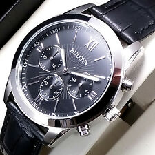 BULOVA CHRONOGRAPH MEN'S WATCH STAINLESS STEEL BLACK LEATHER NEW RRP £199