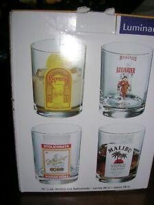 NIB 4 RARE VINTAGE LUMINARC GLASSES Bar Stoli Malibu Kahlua Beefeater Gin Set