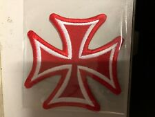 Iron On Patch - Red with White Cross