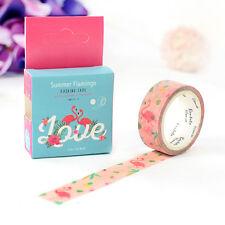 Summmer flamingo 1.5cm×7M paper Sticky Adhesive Sticker  Washi masking tape