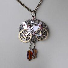 Kette Fisch Fahrrad *steampunk Halskette Rad *bicycle Uhrwerk-Teile Zahnrad Etui