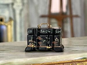 Vintage Artisan Miniature Dollhouse OOAK Carved Wood Chinoiserie Keepsake Box