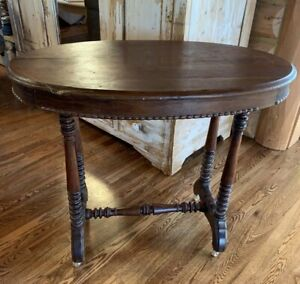 Vintage Wood Accent Table with Casters