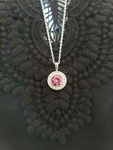 Swarovski Elements Birthstone Necklace October Rose Quartz