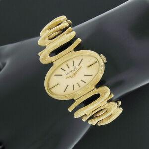 Modernist 14K Gold Merano Mechanical Oval Textured Swirl Wrist Watch Bracelet