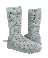 UGG Kalla Seal Grey Cable Knit Fur Boots Womens Size 11 *NIB*