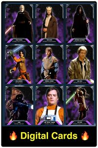 🔥DIGITAL🔥 Topps STAR WARS Trader 2015 PURPLE PREVIEW 9x Base Tier 7 CARD Lot