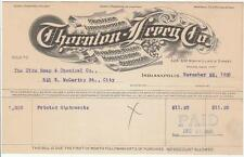 1926 Invoice Thornton - Levey Co. Printers & Lithographers Indianapolis, Indiana