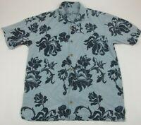 Tommy Bahama Men's Small Island Floral Print 100% Silk Short Sleeve Shirt EUC