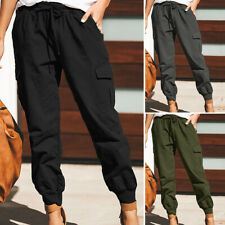 ZANZEA 8-24 Women Plain Basic Solid Pull-On Trousers Tapered Long Cargo Pants
