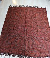 Antique  Kashmir Style Paisley Shawl art nouveau scarf plaid tapestry
