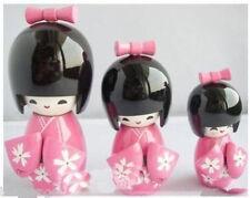 Oriental Japanese Wooden Kokeshi Cute Girl Doll 3pcs Pink