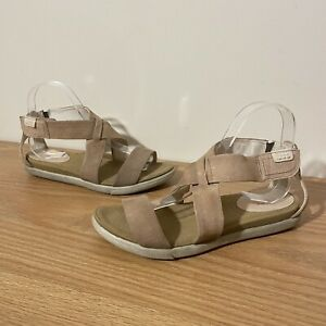 ECCO Woman's Sandals Size 37 Adjustable Fit Comfort Shoes Orthotic Leather Flats