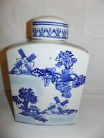 Chinese Decorative Blue and White Porcelain Rectangle Jar With Lid Windmills 12""