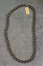 """Vintage Carriage House Faux 10mm Black Pearl Necklace - 24""""  with Original Tag"""