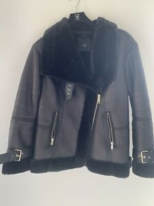 River Island Ladies Women Aviator Jacket Size 14 In Immaculate Condition