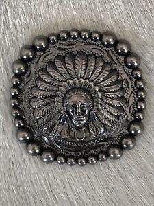 """1.5"""" Antique Nickel Indian Head Concho (1)"""