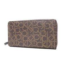 NEW CALVIN KLEIN CK PRINTED LOGO BROWN LEATHER ZIP AROUND WOMEN WALLET CK79468