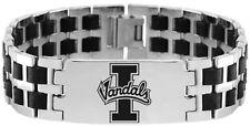 UNIVERSITY IDAHO VANDALS * Stainless Steel & Rubber Link Bracelet w/Logo * NCAA