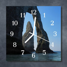Glass Wall Clock Kitchen Clocks 30x30 cm silent Rock Blue