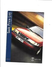 SAAB 900, 900 CONVERTIBLE, 9000 CS & 9000 CD PRICE LIST BROCHURE 1996 - 1997