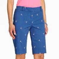 TALBOT'S Pink Flamingo on Blue Bermuda Shorts BRAND NEW Womens Size 10 10P