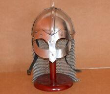 Ancient medieval armour viking combat helmet militaria with wooden stand replica