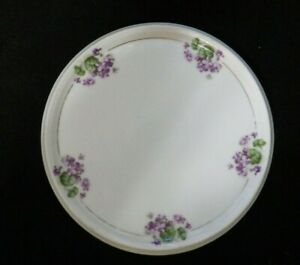 ANTIQUE Z S & CO, BAVARIA ROUND PORCELAIN TRIVET HOT PLATE TEA TILE, CIRCA 1880