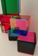 6 Modern Vasa Mihich Cast Acrylic Lucite Prismatic Blocks Sculptures Signed