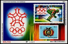 BOLIVIA, MICHEL # BLK165 (BLOCK 165), MINI SHEET OF 1988 OLYMPIC GAMES, CALGARY