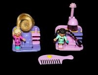 Vintage 1995 Polly Pocket Comb 'n Curl Salon COMPLETE Bluebird Toy